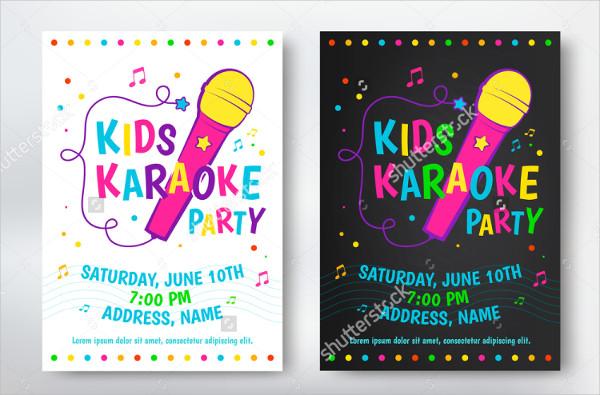 Kids Karaoke Party Flyer Design