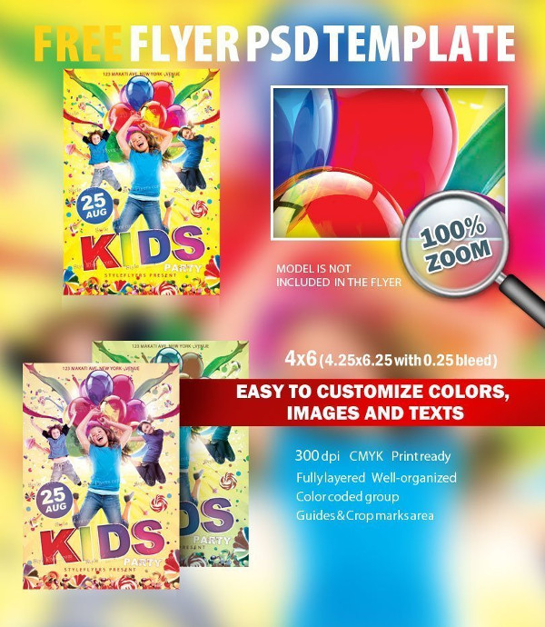 Kids Party Free PSD Flyer Template