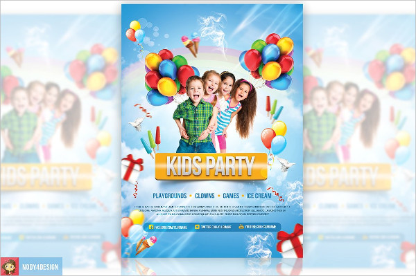 Colorful Kids Party Flyer Template