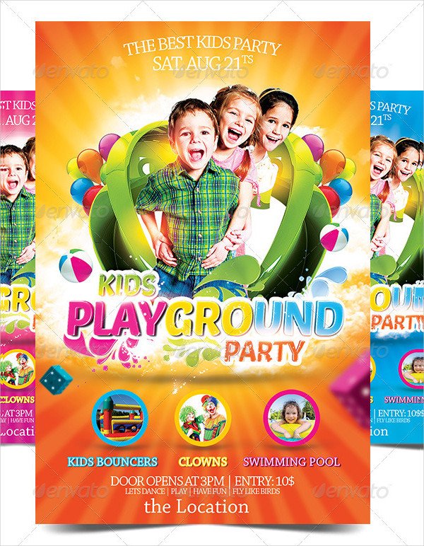 Kids Play Ground Party Flyer Template