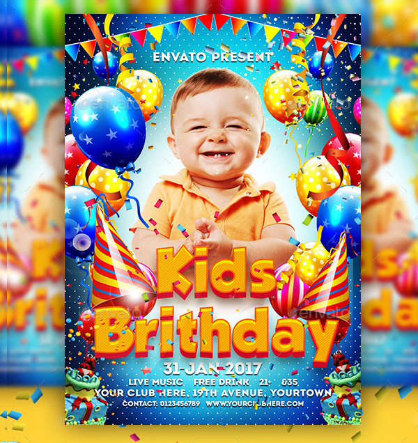 Kids Birthday Party Celebration Flyer Template