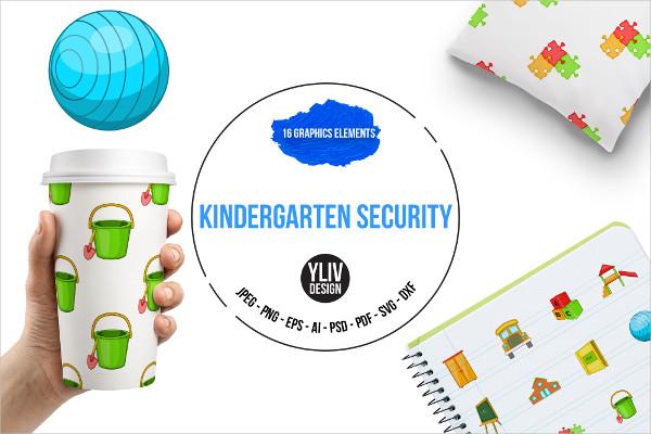 Kindergarten Security Icons Set
