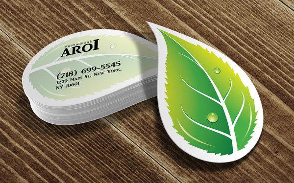Leaf Die Cut Business Card Design