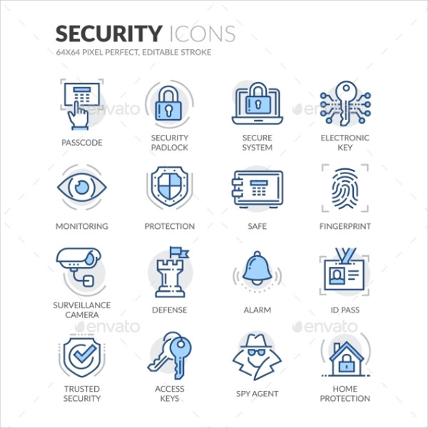 Editable Security Line Icons