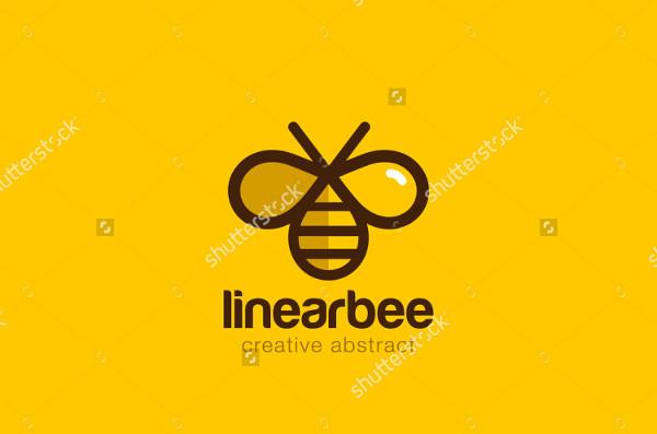 Linear Bee Vector Design Logo