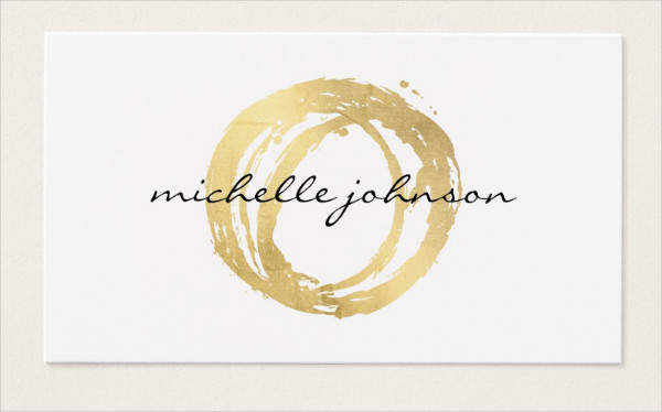 Gold Painted Circle Designer Business Card