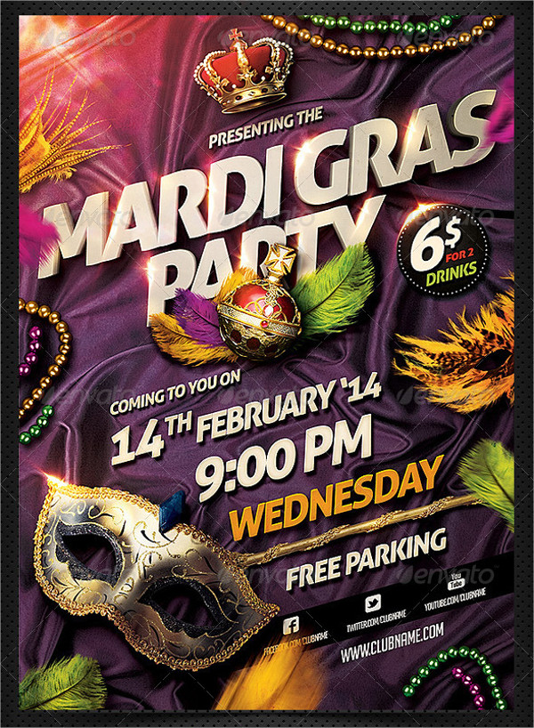 Mardi Gras Carnival Colorful Flyer Template