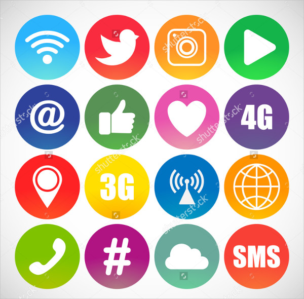 Set of Social Networking Icons in Web Design
