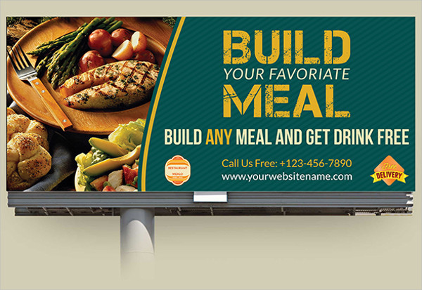 Designed Restaurant Billboard Template