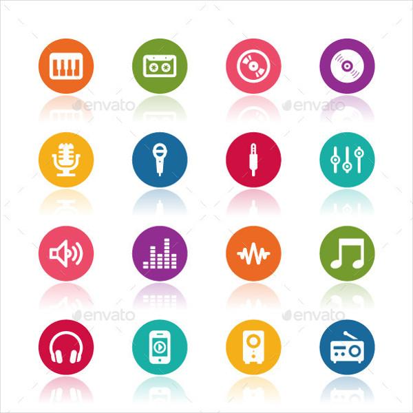 Music Icons Set Vector Illustration
