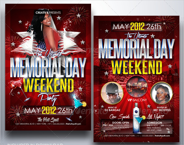 Memorial Day Weekend Party Flyers
