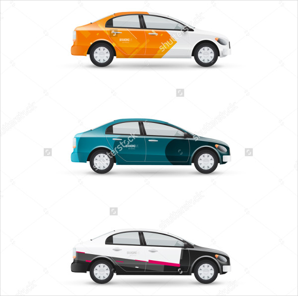 White Passenger Car Mockups Set