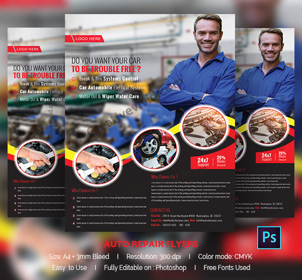 Classic Car Repair Flyer Template