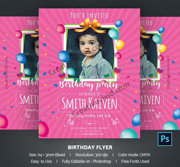 Best Kids Birthday Party Flyer Template
