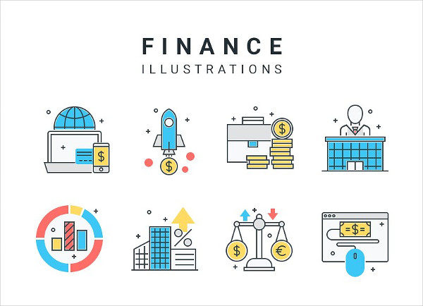 Detailed Finance and Business Icons or Illustrations