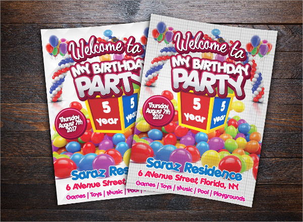 Modern Kids Birthday Party Event Flyer Template