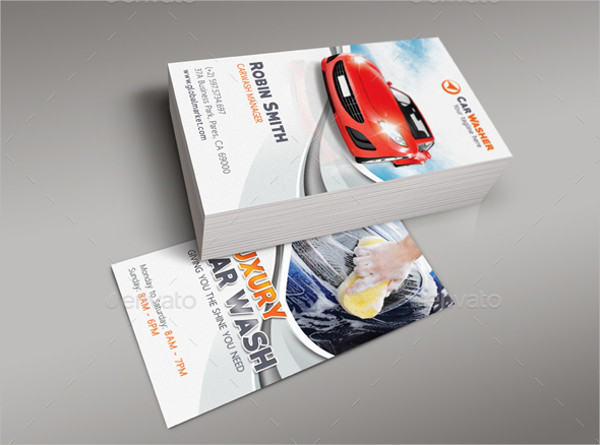fully layered business card for car wash business - Car Wash Business Cards