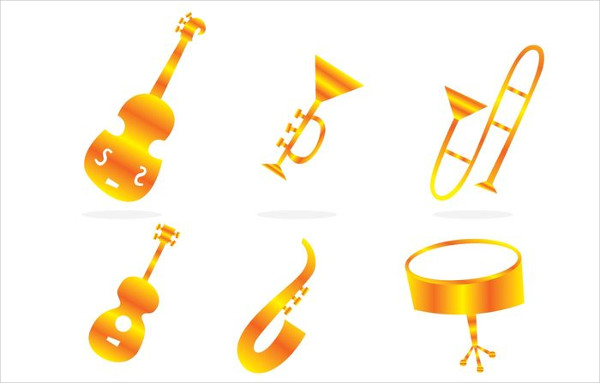Free Musical Instrument Gold Icons