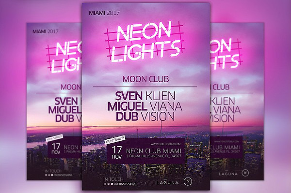 Neon City Club Party Flyer & Poster