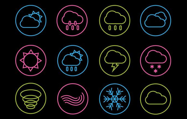 Neon Weather Line Icons Free