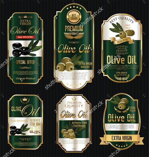 Olive Oil Retro Vintage Gold Black Labels