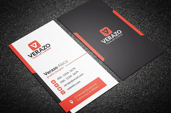 Orange Vertical Business Cards