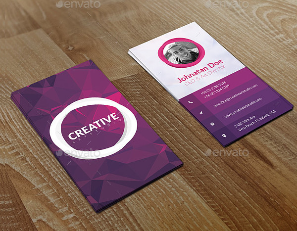 Vertical Design Business Card Template