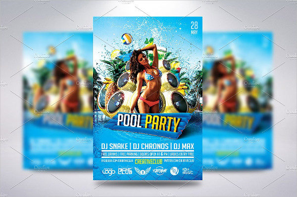 Pool Music Party Flyer Template