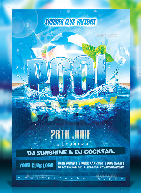 25 pool party flyer templates free premium download for Pool design templates