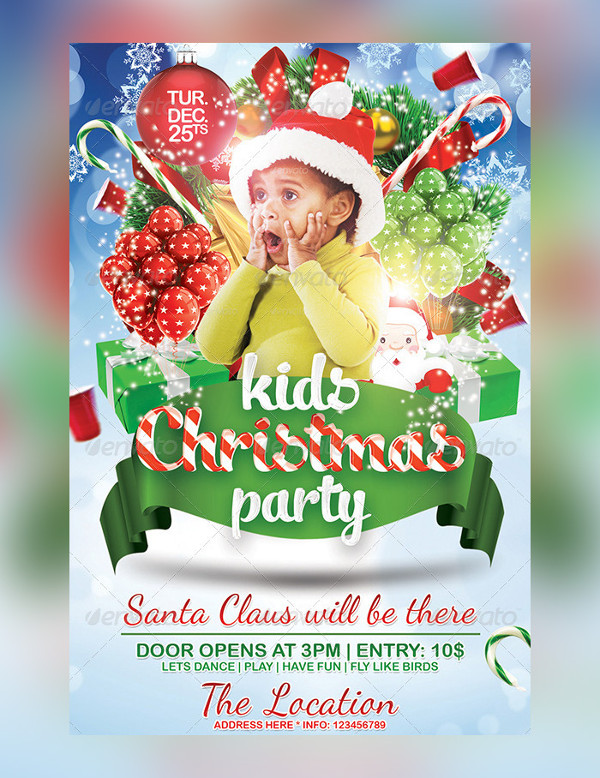 Popular Kids Christmas Party Flyer Template