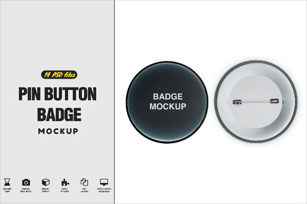 Professional Pin Button Badge Mock-Up