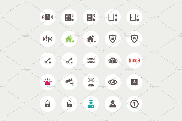 Set of Vector Flat Design Secure Icons