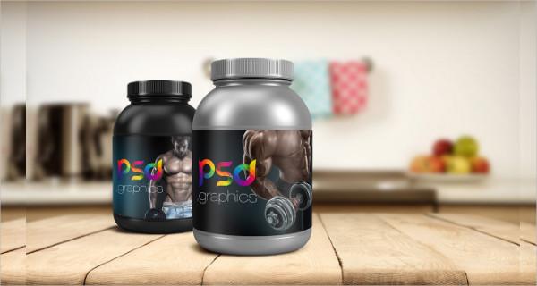 Protein Jar Packaging Mockup Free PSD