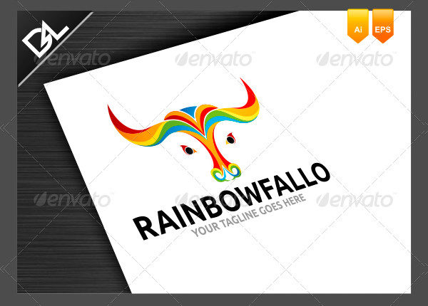 Rainbow Fallo Logo Template