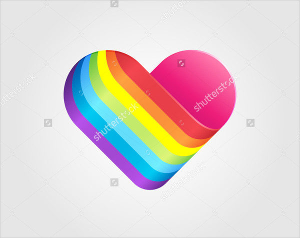 Rainbow Heart Vector Logo