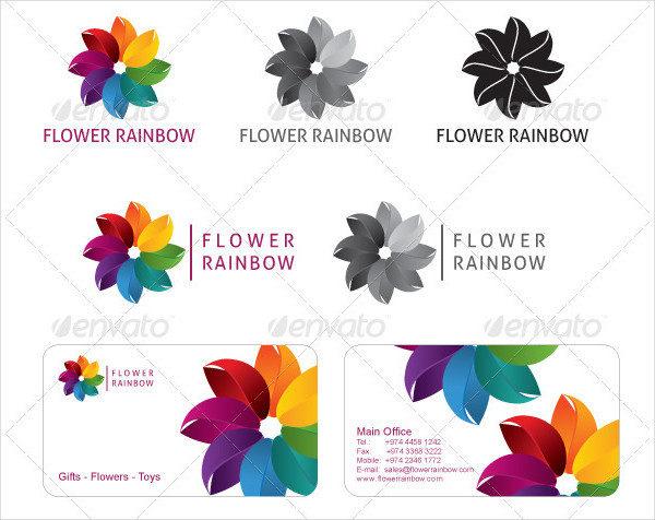 Rainbow Flower Logo Template