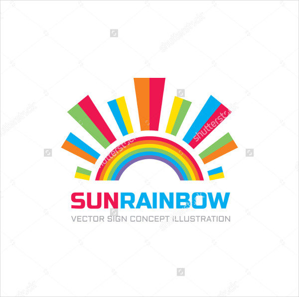 Rainbow Sun Logo Template Vector