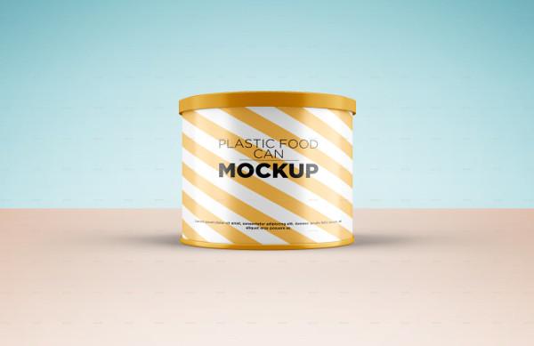 Realistic Plastic Food Can Mockup