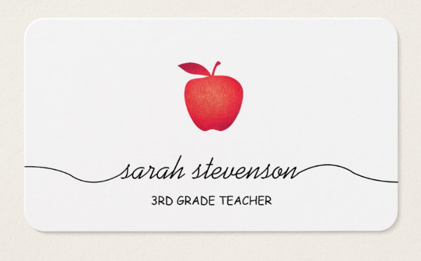 Simple School Teacher Business Card