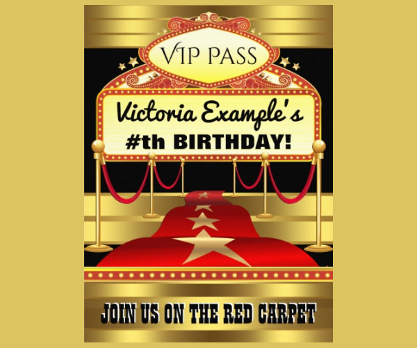 Red Carpet Ticket Party Invitations