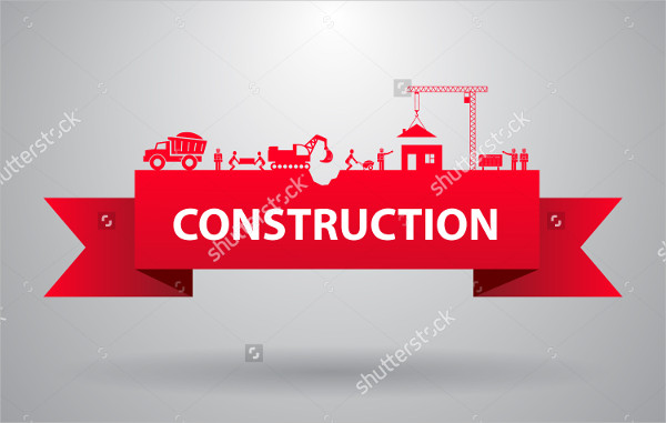 Red Construction Banner for Infographics