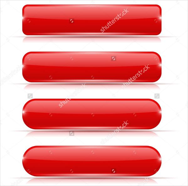 Red Glass 3D Rectangular Buttons