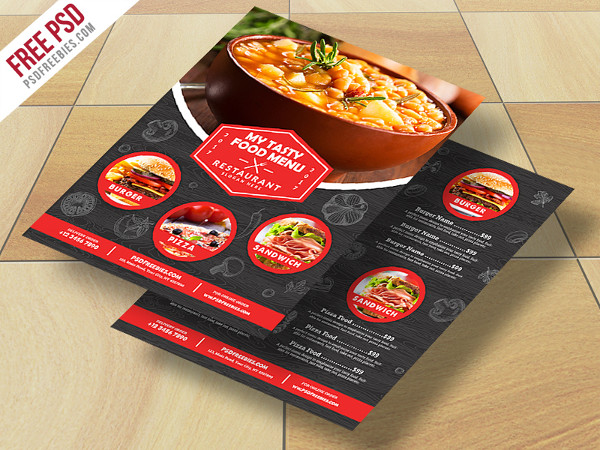 Restaurant Food Menu Free PSD Flyer