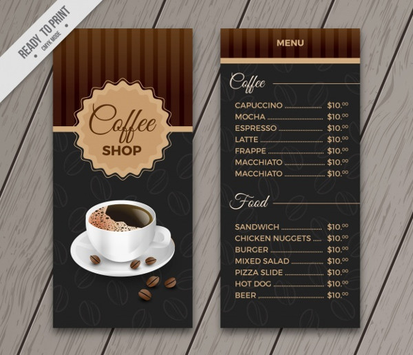 Retro Coffee Menu Template Free Vector