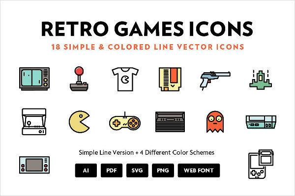 Retro Games Line Icons