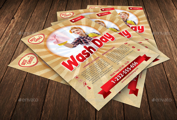 Retro Wash Day Flyer Template