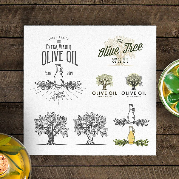Retro Olive Oil Labels & Logos
