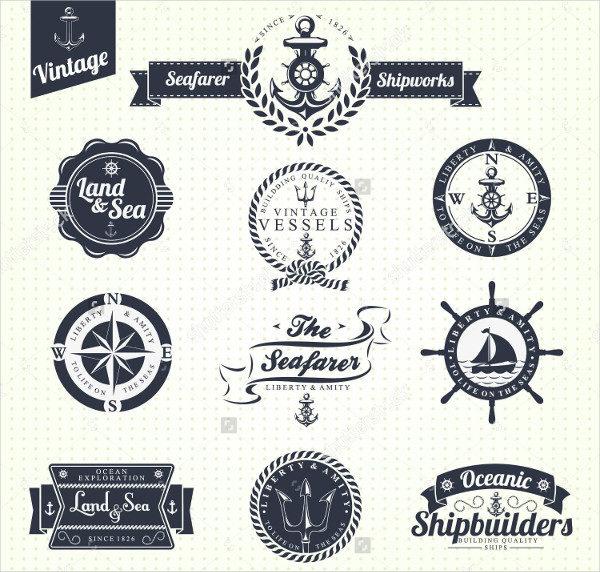 Set of Sea Retro Badges