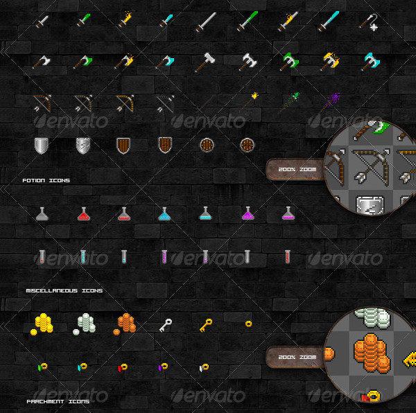 Game Pixel Icon Sprites