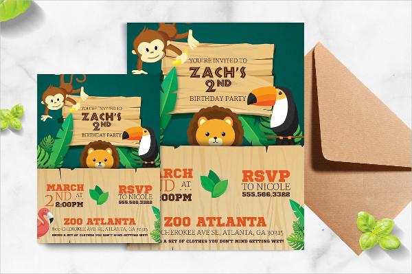 Safari Jungle Kid Birthday Flyer Template
